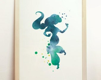 Jasmine Alladin Disney Giclee Art Print Watercolor Children's Silhouette Blue Green Home Decor Archival Print 8x10 A4 8.3 x 11.7 in - N4