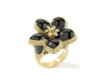 "Black ""Camellia"" Enamel Flower CZ 18K Gold Plated Ring."