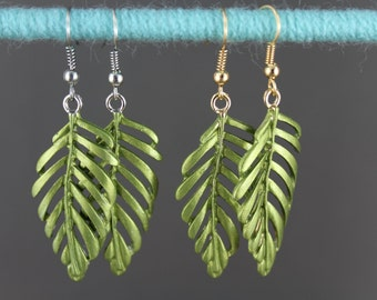 "Green leaf earrings hand painted filigree cut out leaves dangle 2 1/4"" long"