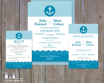 "Invitation wedding ""Sea"" + Save the date + RSVP"