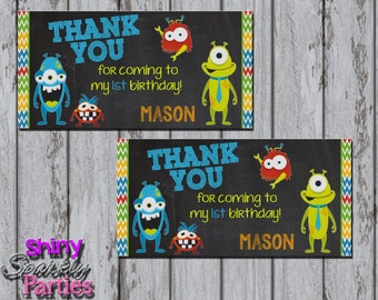 Printable MONSTER TREAT Bag TOPPERS - Little Monster Party Favor Bag Toppers - Monster Party Favor Treat Bag Toppers - Monster Birthday Tags