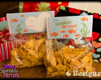 GOLDFISH VALENTINES Treat Bag Toppers - Goldfish Treat Bag Toppers - VALENTINE Treat Bag Toppers - Diy Valentines  Valentines for school