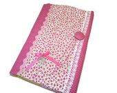 Fabric Book cover  / Adjustable book sleeve in handmade / Pink papperback book cover