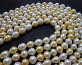 8-10mm White and Gold Drop Circle Baroque South Sea Pearl Necklace