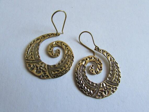 Spiral Brass Tribal etchings, Earrings handmade,Tribal Earrings with hooks, Nickel Free, Indian Jewellery, Gift boxed,Free UK postage BG10