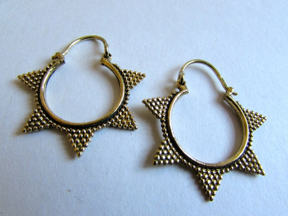 Ethnic dainty earrings  with clasp handmade, Brass, Indian Style , Tribal Earrings, Gift boxed, Free UK post BR13