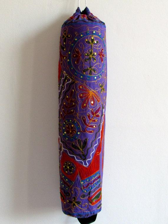 Yoga Mat Bag Pilates Mat Bag handmade Indian orange Elephant purple bag ,Sequins free UK delivery (b52) Free gift