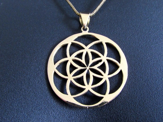 Seed of Life Circle Pendant - Necklace Spiritual jewellery Yogi Jewellery Geometry Jewellery Handmade Free UK delivery BP2