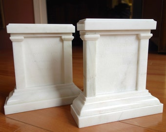 Tomb of the Unknown Soldier White Marble Bookends