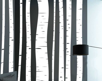 Tree Wall Sticker Birch Tree Vinyl Wall Decal - Set Of 11 Large Birch Forest For Bedroom, Living Room Or Nursery Home Deco ~ Item 0220