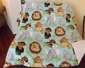 Small Fleece Blanket, Baby Zoo Animals