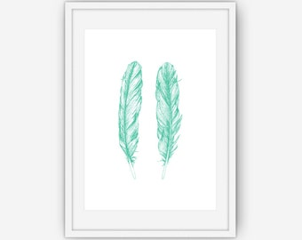 Hand Drawn Teal Feather Print, Teal Wall Art, Feather Wall Art, Hand Drawn Feather, Wall Art, Printable, Instant Download