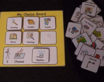 My Choice Board Communication Visual Support Visual Aid for Asd/Adhd/Add/Learning Difficulty/Visual Learners/Pre-School & 40 Symbols