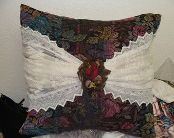 Charming Boho Gypsy Pillow, Vintage Lace, Vintage Tapestry, Antique millinery flower, white goose down filled.