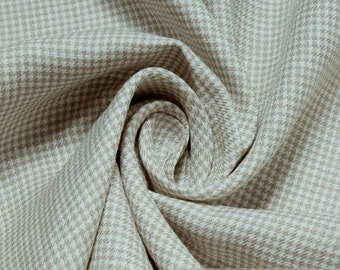 Fabric pure linen houndstooth beige ecru fine delicate