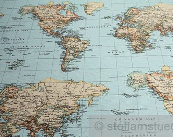 Fabric cotton polyester world map continent