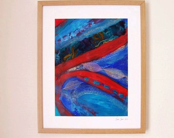 Framed original artwork. Acrylic / mixed media painting. Free delivery. Title: 'Leaves On Water'