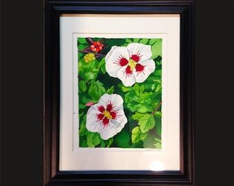 Watercolor of Hibiscus flowers