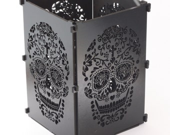 Sugar Skull, Black Sugar Skull Light Box, Candle Box, Candle Holder, Day Of the Dead, Dia De Los Muertos, Mexican Skull, Mexican Sugar Skull