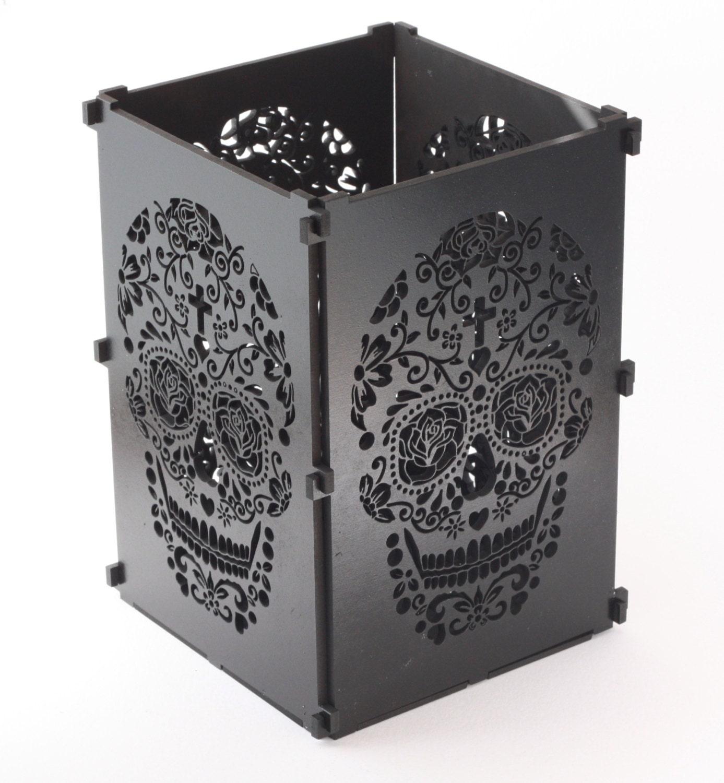 Sugar Skull Black Sugar Skull Light Box Candle Box Candle