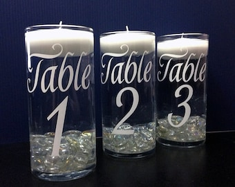 DIY vinyl table numbers,  Choose Color of Vinyl Graphic, Wedding Decor, Wedding Decorations, Wedding table Numbers, Wedding Vase, Wedding