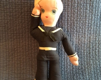 1944 Vintage Navy Lady Doll/Signed and Dated