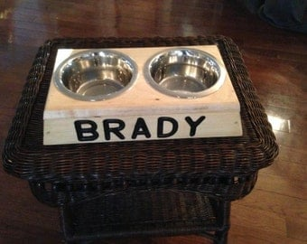 Personalized Wooden Dog Bowl Holder
