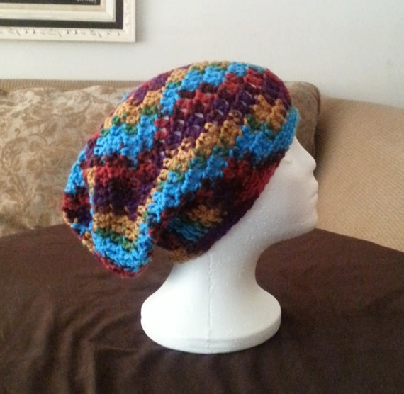 Free Crochet Pattern Multi Colored Hat : Crochet Slouch Beanie Bright Multi Color Crochet Slouch Hat