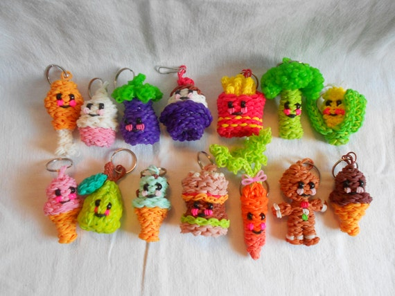 rainbow loom happy food keychains. Black Bedroom Furniture Sets. Home Design Ideas