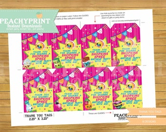 Shopkins Birthday Thank You Tags Instant Download