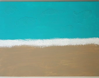 Large Abstract Acrylic Painting Modern Art Contemporary Art Color Field Turquoise Painting Abstract Seascape Painting