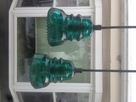 Items similar to antique glass insulator pendant lights on for Insulator pendant light