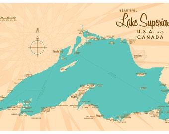 Lake Superior Map Print