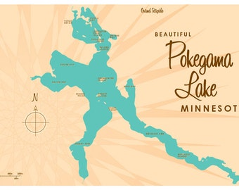 Pokegama Lake, MN Map Print