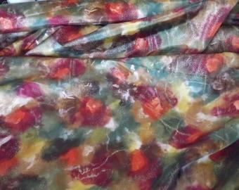 Autumn Floral Taffeta Evening Fabric