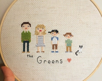Cross-stitch family portraits
