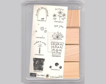 Stampin' Up! FUN FILLED, New Set of 8 Wood Mounted Rubber Stamps, Make a Wish, Birthday, Celebrate