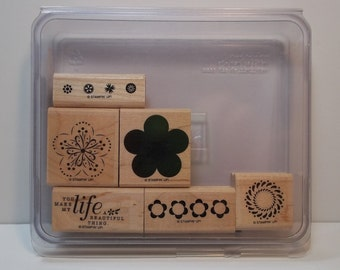 Stampin' Up! A BEAUTIFUL THING, Set of 6 Wood Mounted Rubber Stamps, Like New, 2-Step Stamping