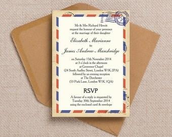 Vintage Airmail Destination Wedding Invitation & RSVP with envelopes