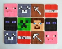 12 Edible Minecraft Cupcake Toppers