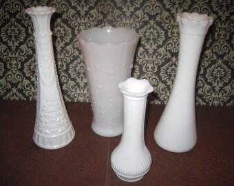 Set of 4 vintage  milk glass vases assorted designs