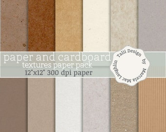 Paper and Cardboard Textures DIGITAL PAPER PACK- 12 pages of kraft paper background white paper corrugated cardboard recycled eco friendly