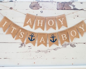 Ahoy It's A Boy Banner, Nautical Banner, Nautical Baby Shower Banner, Nautical Boy Banner,  B071