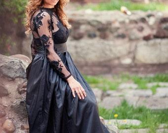 skirt/black skirt/long skirt/skirt with higt waist
