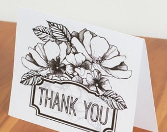 "FREE SHIPPING!! Handmade Set 4 of Black and White Flower ""Thank You"" Cards"