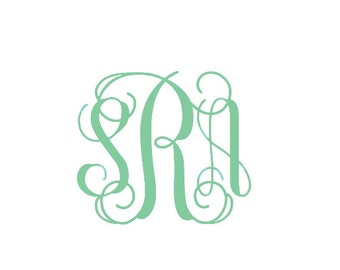 Vine Monogram Decal / Small Decal / Petite Decal / Tiny Decal / Interlocking Decal