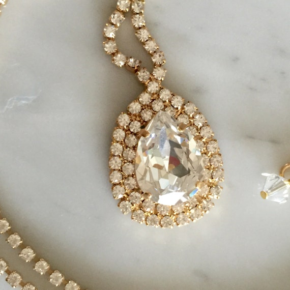 Large Pear Cut Swarovski Clear Crystal Bridal, Cocktail Yellow Gold Necklace