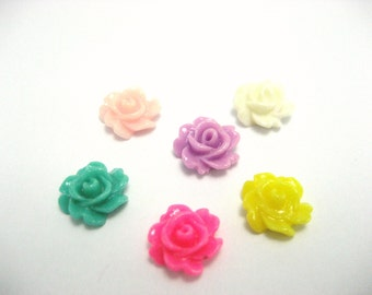 Resin Flower Cabochons   7 mm Tiny Flower  Rose Cabochons Small Rose Flower Cabochons No Holes  Jewelry Making Jewelry Supplies