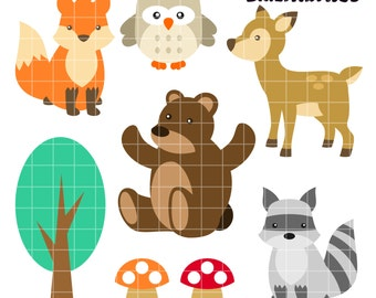 Woodland Animals Clip Art, Forest Clipart, Wild Printable, Woodland Clip Art, Digital Art, Clip Art, Royalty Free