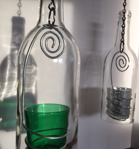 Hanging wine bottle candle holder clear bottle by wicksandwine for How to make candle holders out of wine bottles